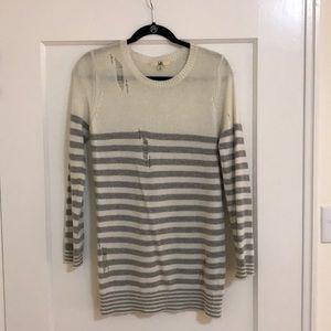 Distressed strip sweater